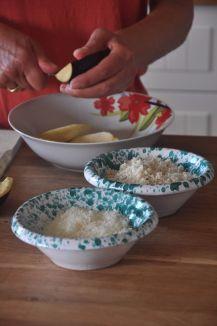 Pecorino, pane raffermo, e melanzane