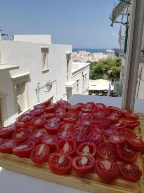 Pomodori a seccare con veduta di Vieste