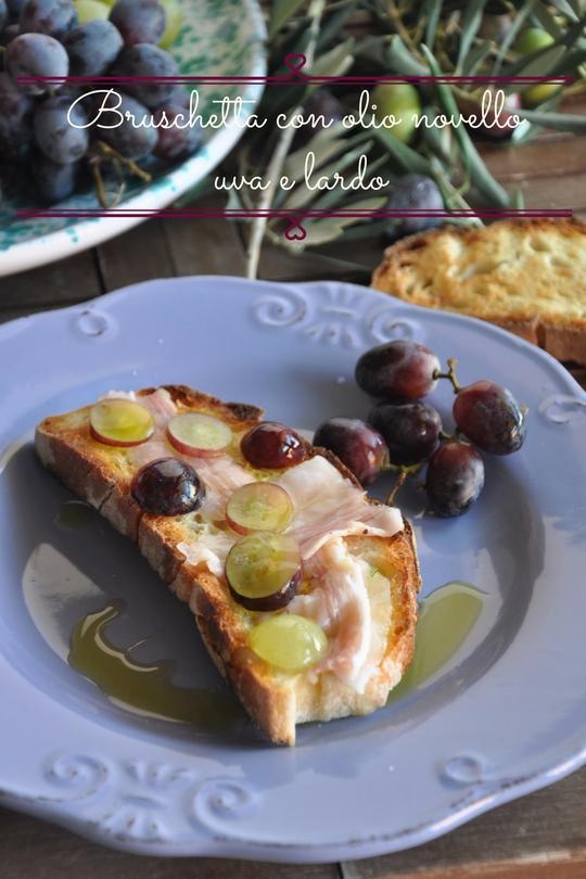 Bruschetta con olio novello uva e lardo