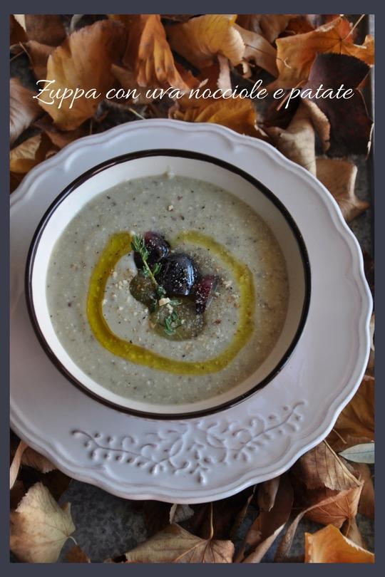 Zuppa con uva nocciole e patate