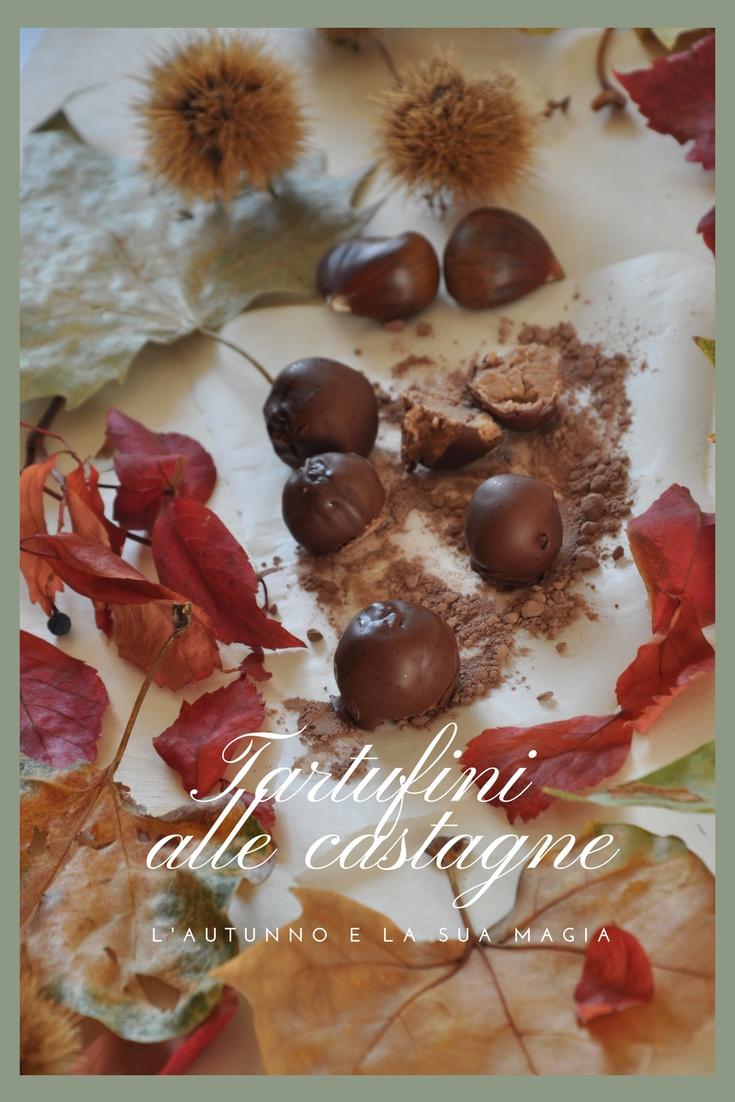 Tartufini di castagne ricoperti di cioccolato fondente