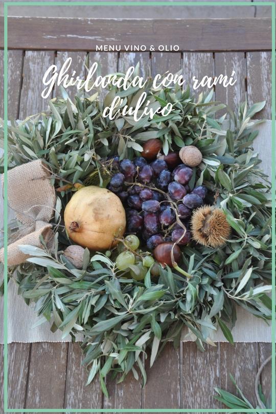 Ghirlanda con rami d'ulivo, con frutta di stagione