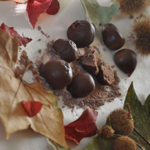 Tartufini di castagne con copertura al cioccolato