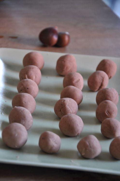 Tartufini di castagne senza copertura al cioccolato