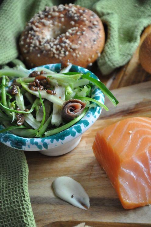 bagel punterelle e salmone