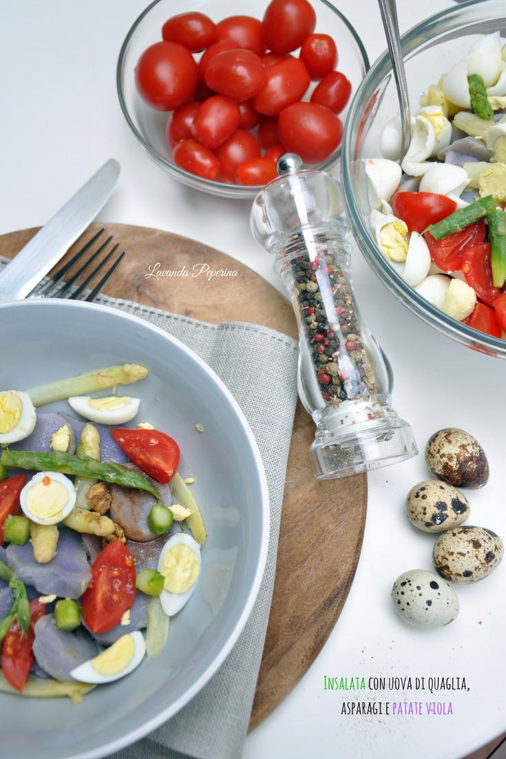 Insalata con uova di quaglia, asparagi e patate viola