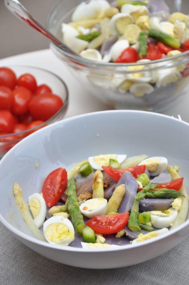 Insalata di asparagi bianchi e uova di quaglia