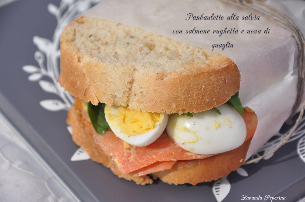 panbauletto alla salvia con salmone e uova lesse, ricette da picnic