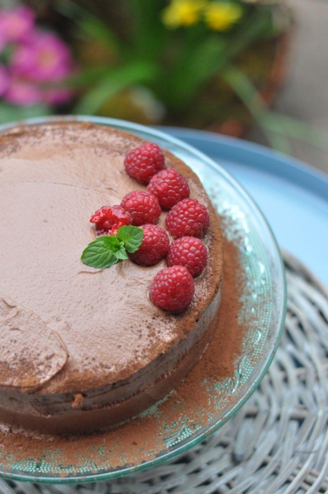 Torta al cioccolato fondente e lamponi
