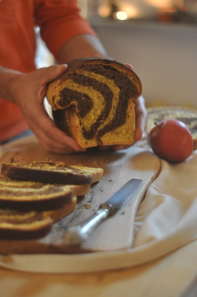 Pan brioche autunnale con zucca e cioccolato